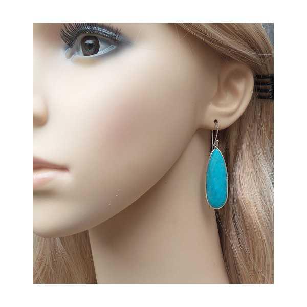 Silber-Ohrringe mit kleinen Ovale Form Türkis briolet
