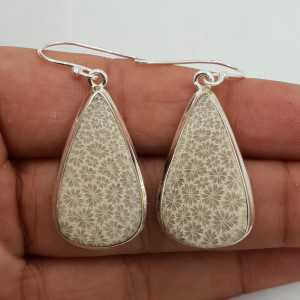 Zilveren oorbellen gezet met grote druppelvormige Fossiel Koraal