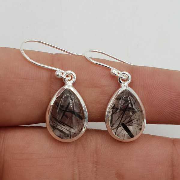 Ohrstecker Ohrring Silber Tropfen mit Kristall schwarz