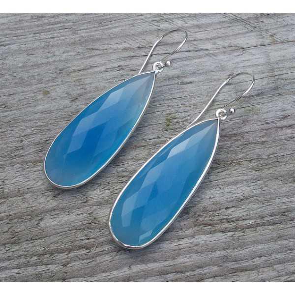 Silber Ohrringe mit kleine Ovale Form blau Chalcedon briolet