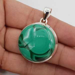 925 Sterling zilveren hanger gezet met ronde Malachiet