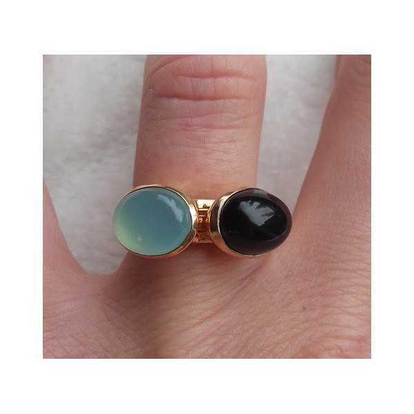Vergulde ringen set gezet met Chalcedoon en Onyx 16.5 mm