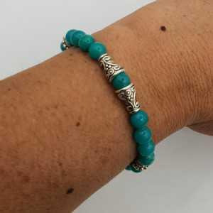 Armband van 6 mm zee groene Jade.