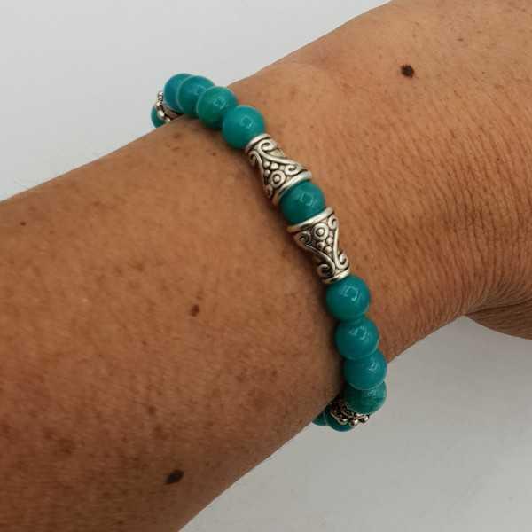 Armband aus 6 mm sea-grüne Jade.