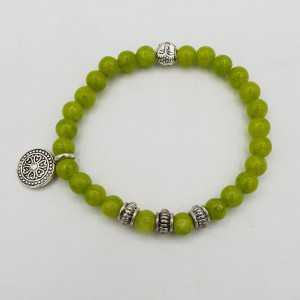 Armband, lime, grün, Jade