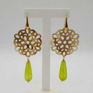 Gold-plattiert drop Ohrringe aus buffalo horn und grüne Jade