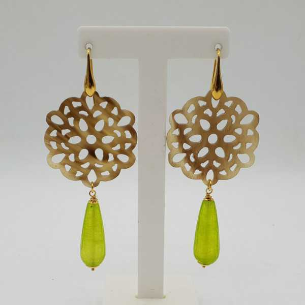 Gold-plated drop earrings in buffalo horn and green Jade