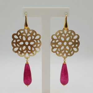 Gold-plattiert drop Ohrringe aus buffalo horn und fuchsia, Jade,