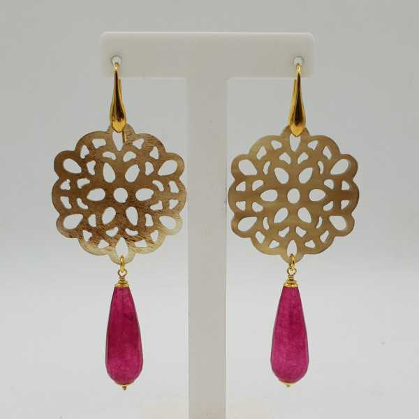 Gold-plated drop earrings in buffalo horn and fuchsia pink, Jade,
