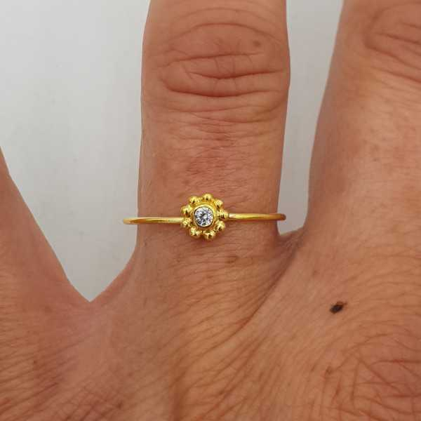 Gold plated ring with zircon