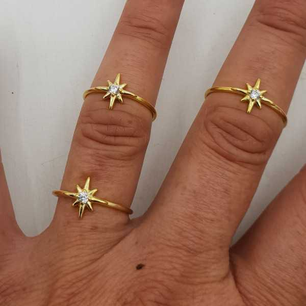 Gold-plated ring with the north star, set with zirconia
