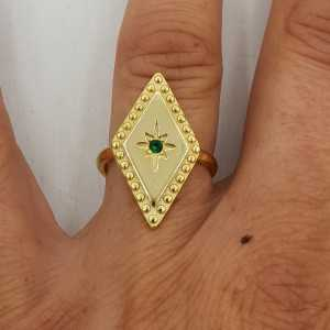 Gold-plated ring with green Zircon