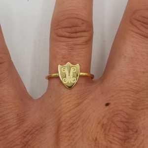 Vergoldeter ring mit einem Runden Schild, verstellbar