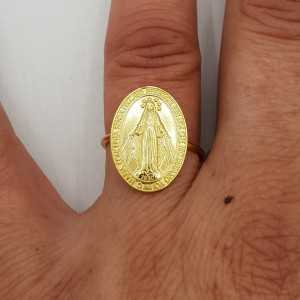 Gold-plated ring, with Maria, adjustable