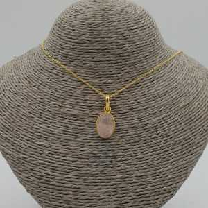 Gold plated earrings with oval shaped rose quartz pendant