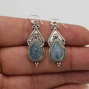 925 Sterling silver drop earrings set with a teardrop shaped Aquamarine