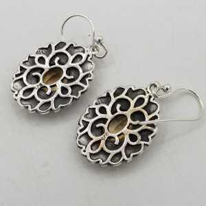 925 Sterling zilveren oorbellen met Granaat in bewerkte setting