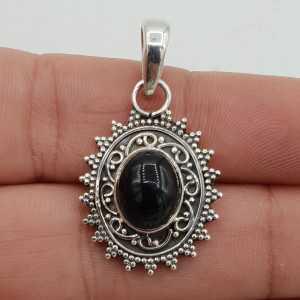 Zilveren hanger ovale zwarte Onyx bewerkte setting