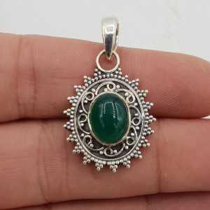 Zilveren hanger ovale groene Onyx bewerkte setting
