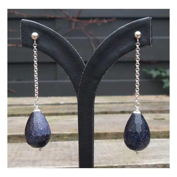 Silber lange Ohrringe mit blauen Goudsteen briolet