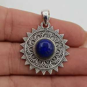 Zilveren hanger ronde Lapis Lazuli bewerkte setting