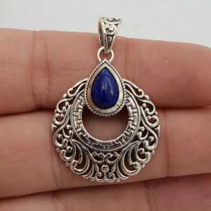 Zilveren hanger druppelvormige Lapis Lazuli bewerkte setting