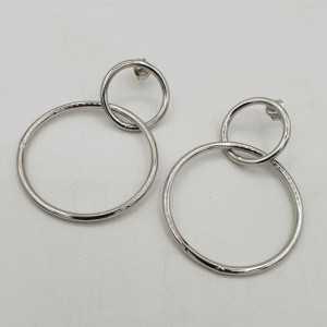 925 Sterling Silber Doppel-ring-Ohrringe