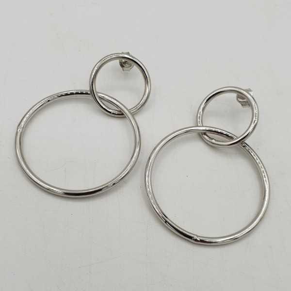 925 Sterling zilveren dubbele ring oorbellen
