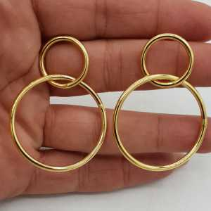 Gold-plated double ring earrings