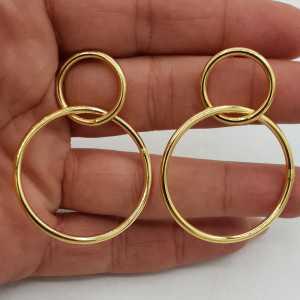 Goud vergulde dubbele ring oorbellen