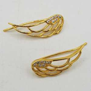 Goud vergulde vleugel oorklimmers met Zirkonia