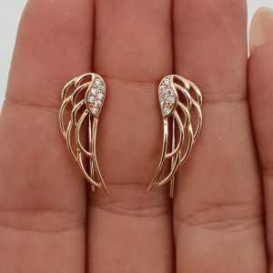 Rosé goud vergulde vleugel oorklimmers met Zirkonia