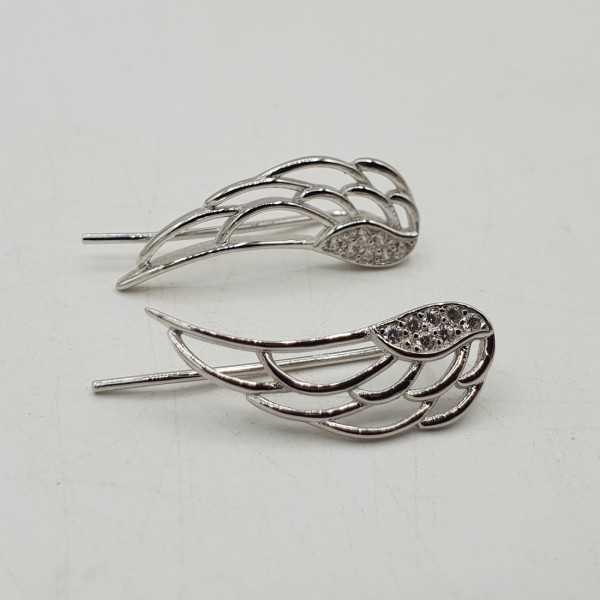 925 Sterling zilveren vleugel oorklimmers met Zirkonia