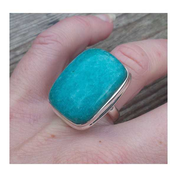 Silber-ring mit einem rechteckigen Amazonit Größe 17.3 mm