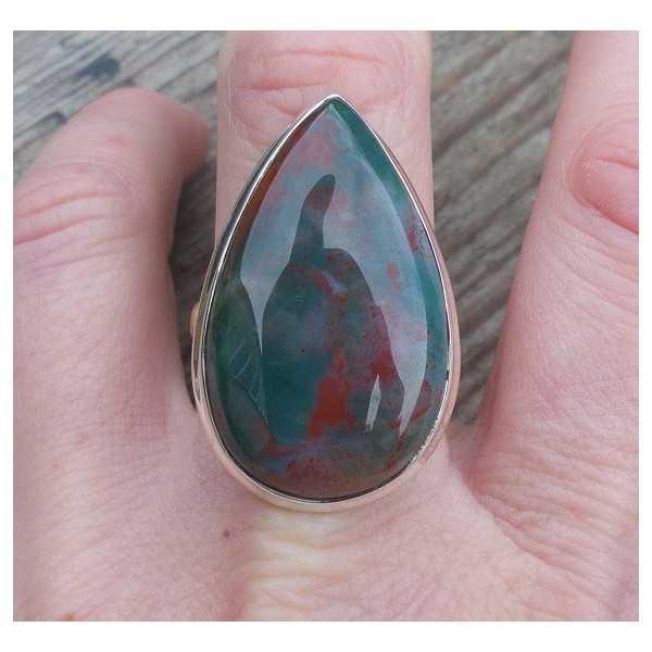 Silber ring mit ovaler Form Bloodstone 19.7 mm