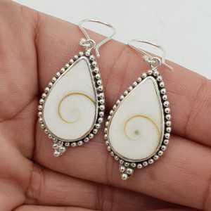 925 Sterling zilveren oorbellen met druppelvormige Shiva schelp
