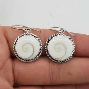 925 Sterling zilveren oorbellen met ronde Shiva schelp