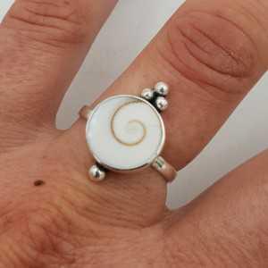 925 Sterling Silber ring mit rundem Shiva-shell