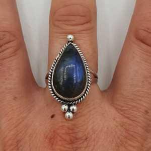 925 Sterling zilveren ring gezet met Labradoriet 18.5 mm