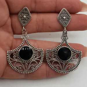 925 Sterling zilveren oorbellen gezet met zwarte Onyx