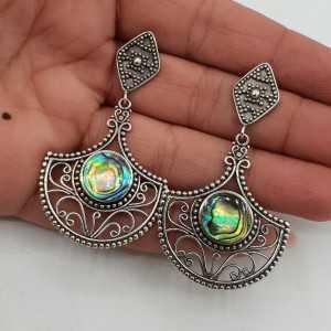 925 Sterling zilveren oorbellen gezet met Abalone schelp
