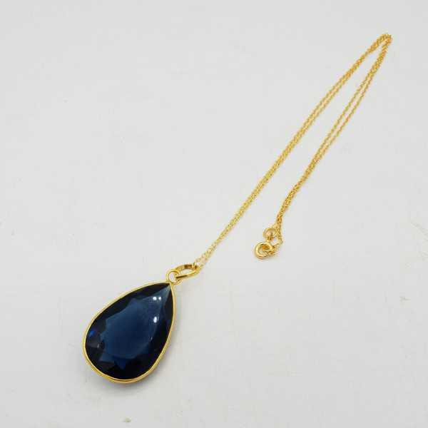 Gold-plated necklace with a Ioliet blue quartz pendant