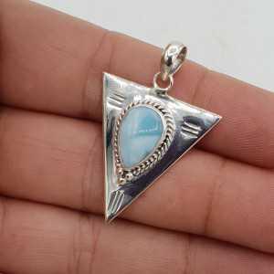 925 Sterling zilver driehoekige hanger gezet met Larimar