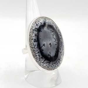 925 Sterling Silber ring mit Dendriten Opal, justierbar