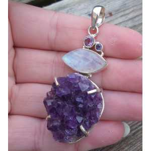 Silver pendant with druzy Amethyst, Amethyst and Moonstone