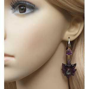 Vergulde oorbellen met bloem, Amethist en groene Amethist