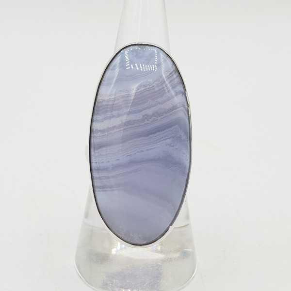 925 Sterling Silber ring mit einem ovalen blauen Achat-Stein-verstellbare