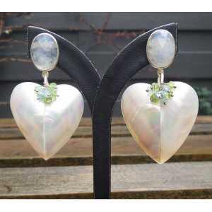 Ohrringe Silber Herz, Muschel, Mondstein, Topas und Peridot