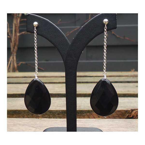 Silber Ohrringe mit großen Onyx-briolet