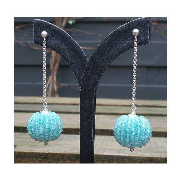 Silber lange Ohrringe mit großen Globus von Seite Aquamarin